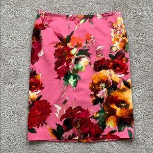 NWT Talbots pink floral pencil skirt sz 6p